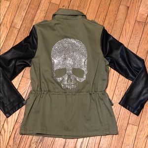 Army Green & Black Utility Jacket Skull L NWOT